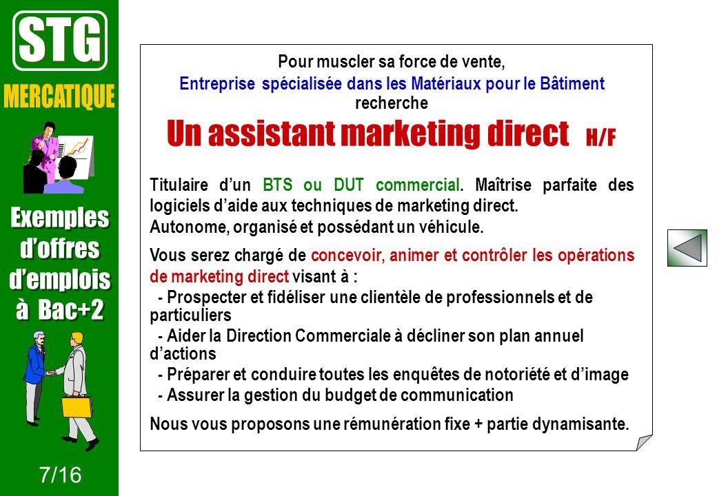 Pour muscler sa force de vente, Entreprise spécialisée dans les Matériaux pour le Bâtiment recherche Un assistant marketing direct H/F Titulaire dun B