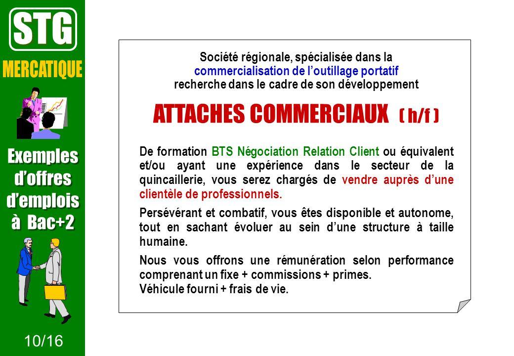 Société régionale, spécialisée dans la commercialisation de loutillage portatif recherche dans le cadre de son développement ATTACHES COMMERCIAUX ( h/