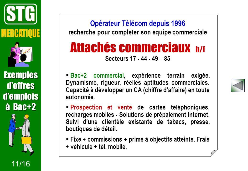 Opérateur Télécom depuis 1996 recherche pour compléter son équipe commerciale Attachés commerciaux h/f Secteurs 17 - 44 - 49 – 85 Bac+2 commercial, ex