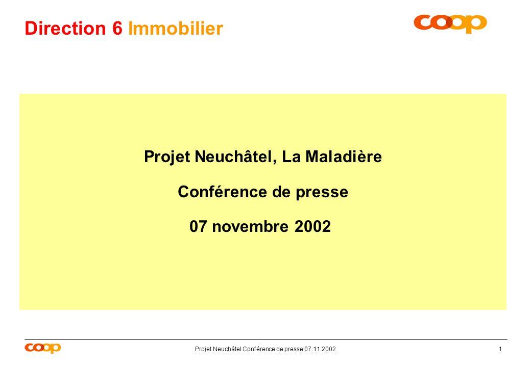 Projet Neuchâtel Conférence de presse 07.11.20021 Direction 6 Immobilier Projet Neuchâtel, La Maladière Conférence de presse 07 novembre 2002