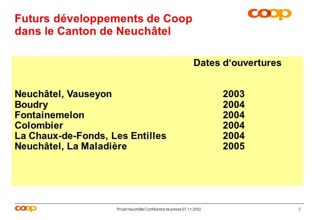 Projet Neuchâtel Conférence de presse 07.11.20023 Futurs développements de Coop dans le Canton de Neuchâtel Dates douvertures Neuchâtel, Vauseyon 2003