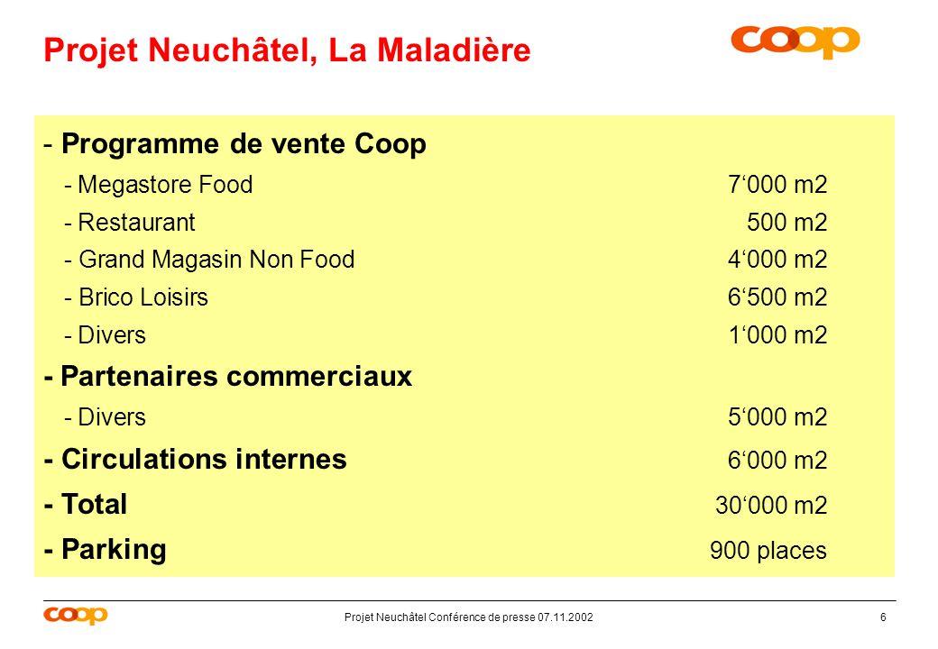 Projet Neuchâtel Conférence de presse 07.11.20026 Projet Neuchâtel, La Maladière - Programme de vente Coop - Megastore Food7000 m2 - Restaurant500 m2