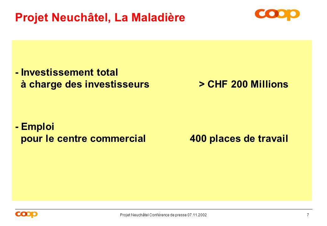 Projet Neuchâtel Conférence de presse 07.11.20027 Projet Neuchâtel, La Maladière - Investissement total à charge des investisseurs> CHF 200 Millions - Emploi pour le centre commercial 400 places de travail