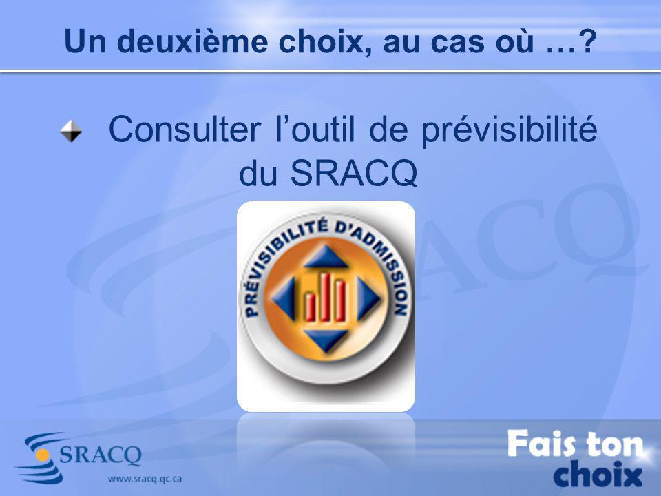 Consulter loutil de prévisibilité du SRACQ Un deuxième choix, au cas où …?