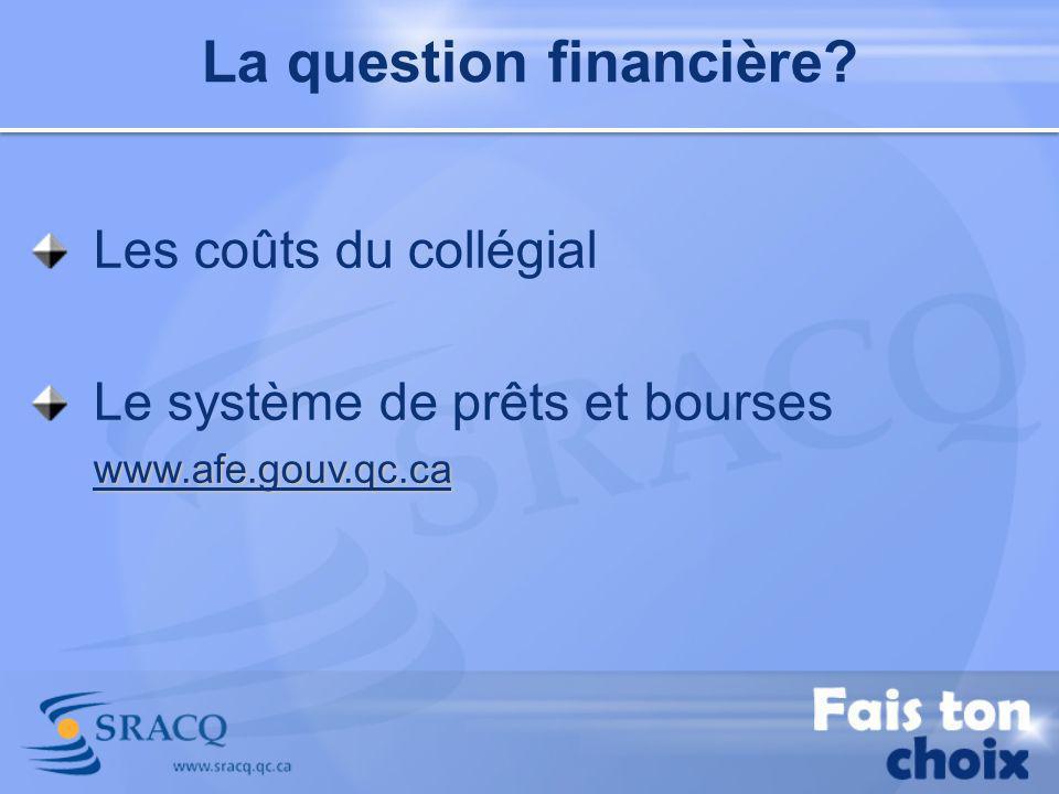 La question financière? Les coûts du collégial www.afe.gouv.qc.ca Le système de prêts et bourses www.afe.gouv.qc.ca