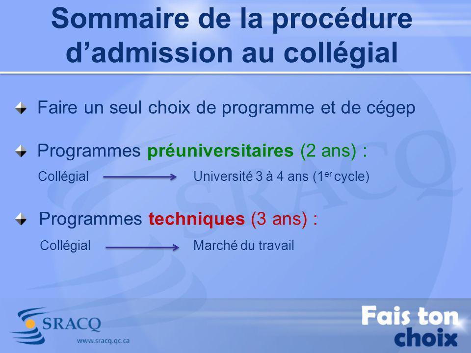 Sommaire de la procédure dadmission au collégial Faire un seul choix de programme et de cégep Programmes préuniversitaires (2 ans) : Collégial Univers