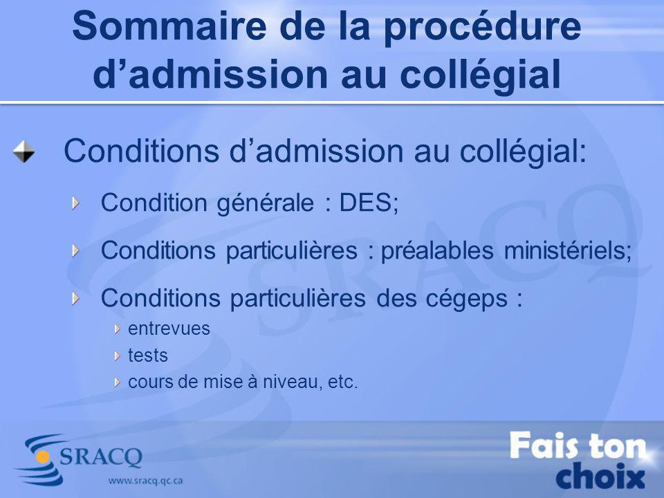 Conditions dadmission au collégial: Condition générale : DES; Conditions particulières : préalables ministériels; Conditions particulières des cégeps