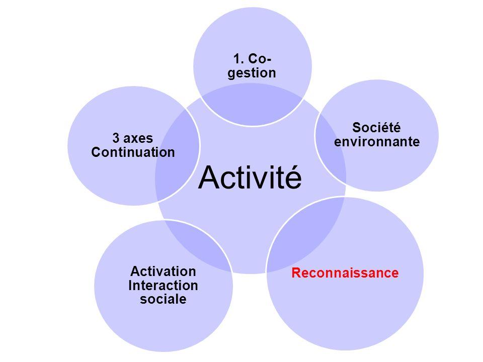 Activité 1. Co- gestion Société environnante Reconnaissance Activation Interaction sociale 3 axes Continuation