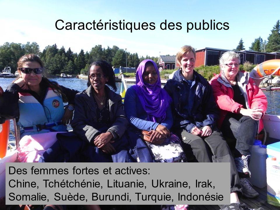 Caractéristiques des publics Des femmes fortes et actives: Chine, Tchétchénie, Lituanie, Ukraine, Irak, Somalie, Suède, Burundi, Turquie, Indonésie
