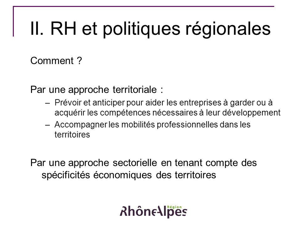 II. RH et politiques régionales Comment ? Par une approche territoriale : –Prévoir et anticiper pour aider les entreprises à garder ou à acquérir les