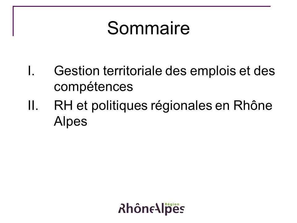 Sommaire I.Gestion territoriale des emplois et des compétences II.RH et politiques régionales en Rhône Alpes