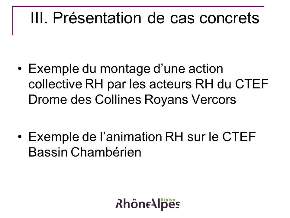 III. Présentation de cas concrets Exemple du montage dune action collective RH par les acteurs RH du CTEF Drome des Collines Royans Vercors Exemple de