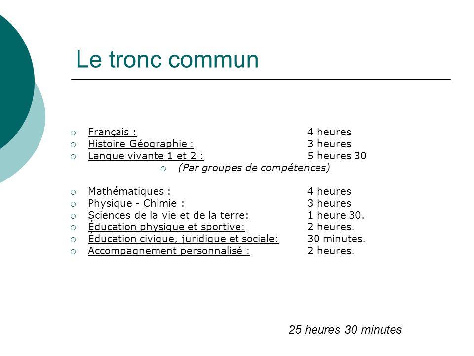Le tronc commun Français : 4 heures Histoire Géographie : 3 heures Langue vivante 1 et 2 :5 heures 30 (Par groupes de compétences) Mathématiques :4 he