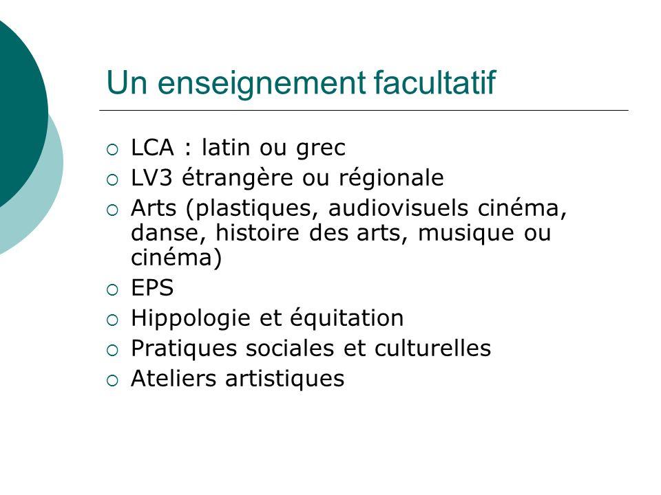 Un enseignement facultatif LCA : latin ou grec LV3 étrangère ou régionale Arts (plastiques, audiovisuels cinéma, danse, histoire des arts, musique ou
