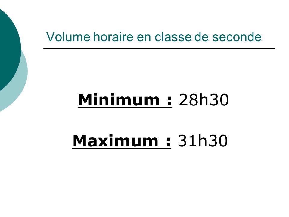 Volume horaire en classe de seconde Minimum : 28h30 Maximum : 31h30