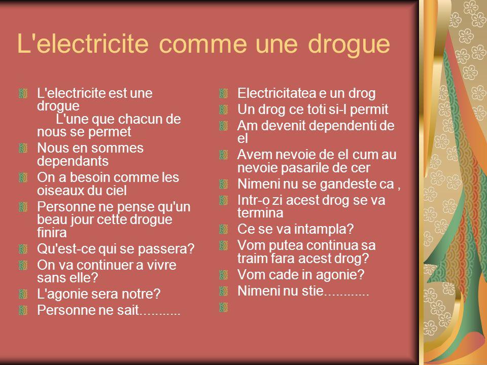 L'electricite comme une drogue L'electricite est une drogue L'une que chacun de nous se permet Nous en sommes dependants On a besoin comme les oiseaux