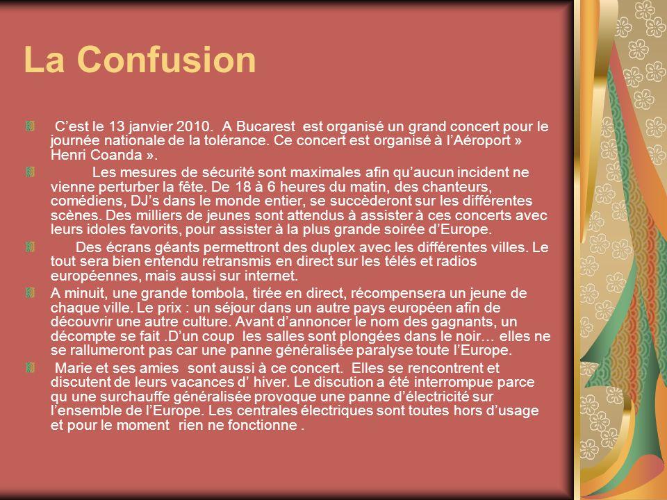 La Confusion Cest le 13 janvier 2010. A Bucarest est organisé un grand concert pour le journée nationale de la tolérance. Ce concert est organisé à lA