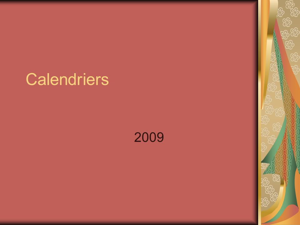 Calendriers 2009