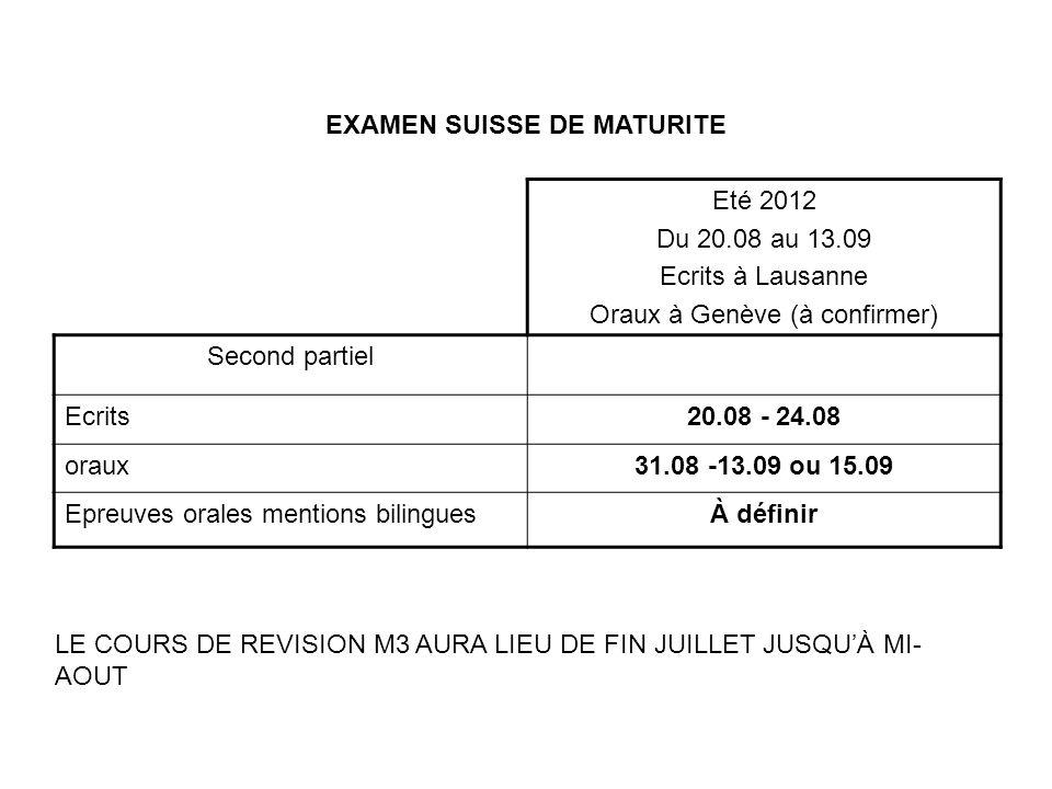 EXAMEN SUISSE DE MATURITE Eté 2012 Du 20.08 au 13.09 Ecrits à Lausanne Oraux à Genève (à confirmer) Second partiel Ecrits20.08 - 24.08 oraux31.08 -13.