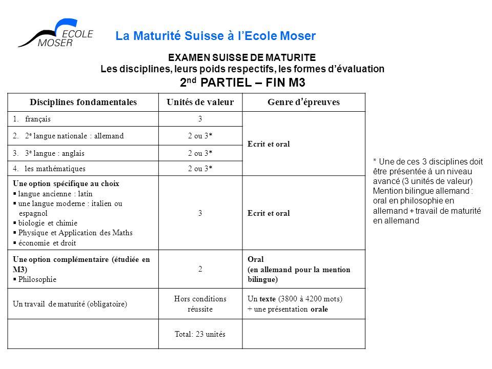 La Maturité Suisse à lEcole Moser Disciplines fondamentalesUnités de valeurGenre dépreuves 1. français3 Ecrit et oral 2. 2 e langue nationale : allema