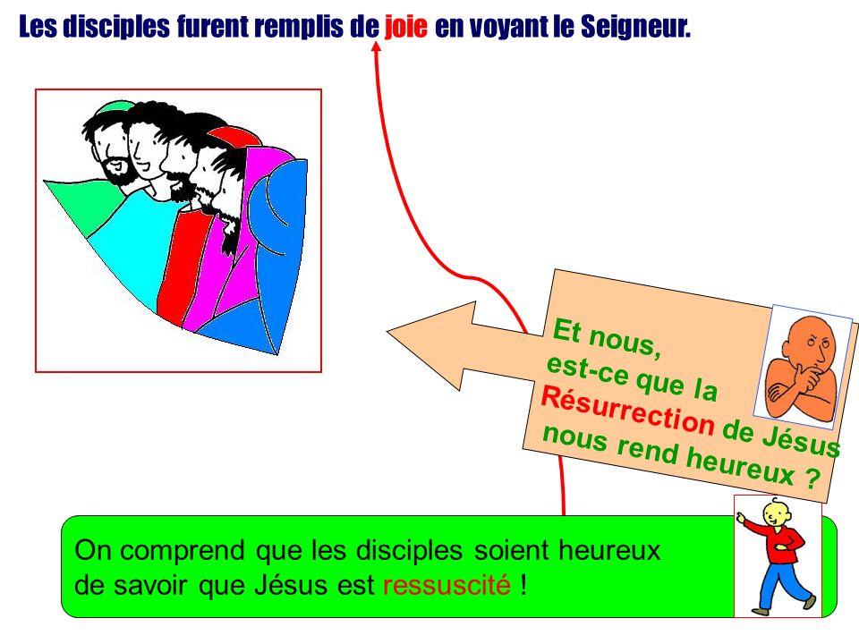 Les disciples furent remplis de joie en voyant le Seigneur. On comprend que les disciples soient heureux de savoir que Jésus est ressuscité ! Et nous,