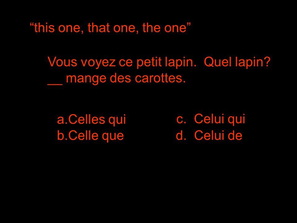 this one, that one, the one Vous voyez ce petit lapin. Quel lapin? __ mange des carottes. a.Celles qui b.Celle qued. Celui de c. Celui qui