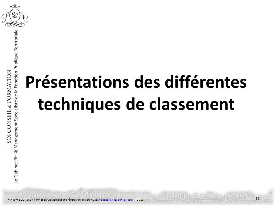 Vincent BOGAERS – Formation Classement et préparation de larchivage vbogaers@soi-conseil.com - 2013vbogaers@soi-conseil.com Présentations des différen