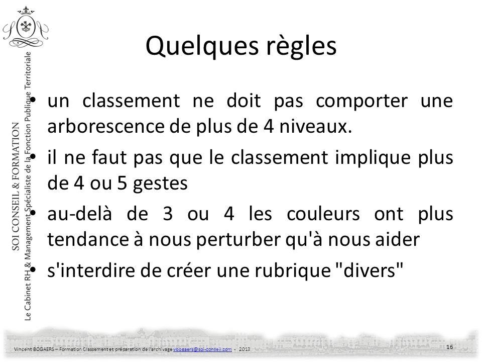 Vincent BOGAERS – Formation Classement et préparation de larchivage vbogaers@soi-conseil.com - 2013vbogaers@soi-conseil.com Quelques règles un classem