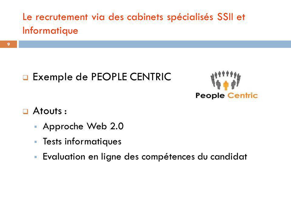 Le recrutement via des cabinets spécialisés SSII et Informatique Exemple de PEOPLE CENTRIC Atouts : Approche Web 2.0 Tests informatiques Evaluation en