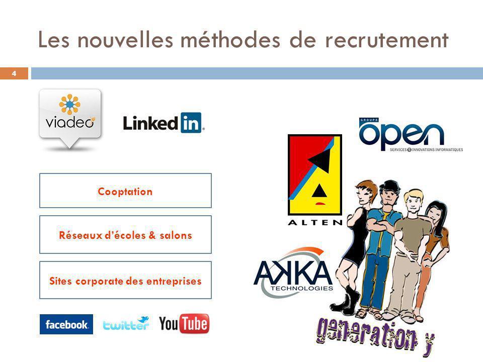 Les nouvelles méthodes de recrutement Cooptation Réseaux décoles & salons Sites corporate des entreprises 4