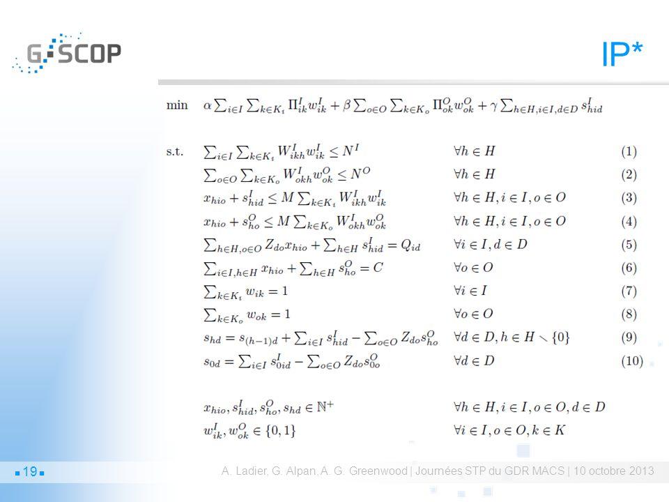 IP* A. Ladier, G. Alpan, A. G. Greenwood | Journées STP du GDR MACS | 10 octobre 2013 19