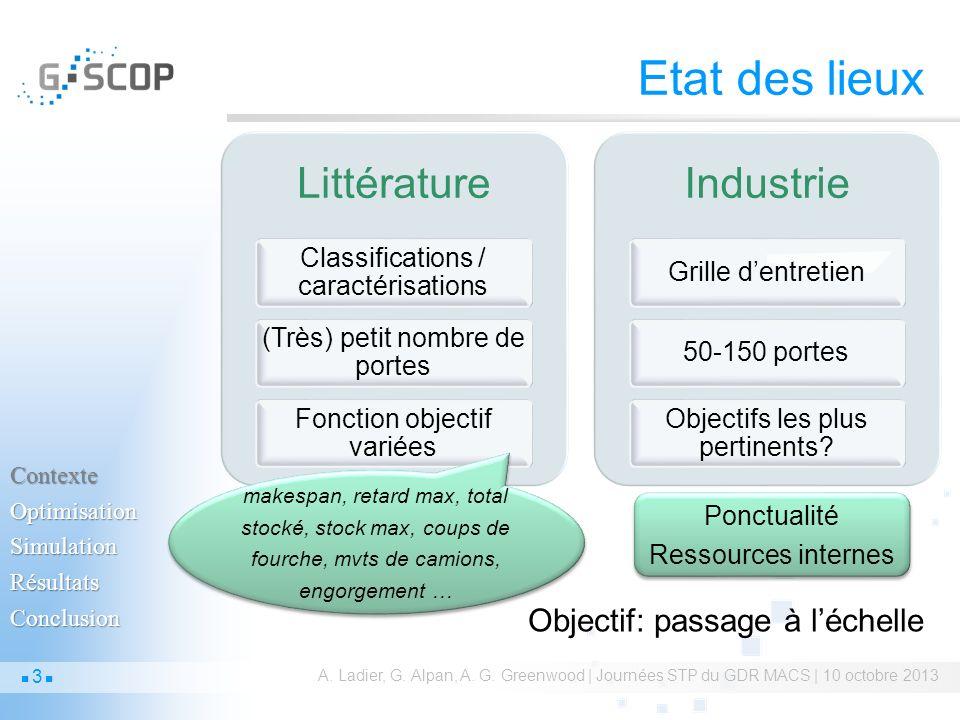Etat des lieux Littérature Classifications / caractérisations (Très) petit nombre de portes Fonction objectif variées Industrie Grille dentretien50-15