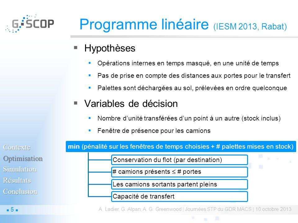 Programme linéaire (IESM 2013, Rabat) min (pénalité sur les fenêtres de temps choisies + # palettes mises en stock) Conservation du flot (par destinat