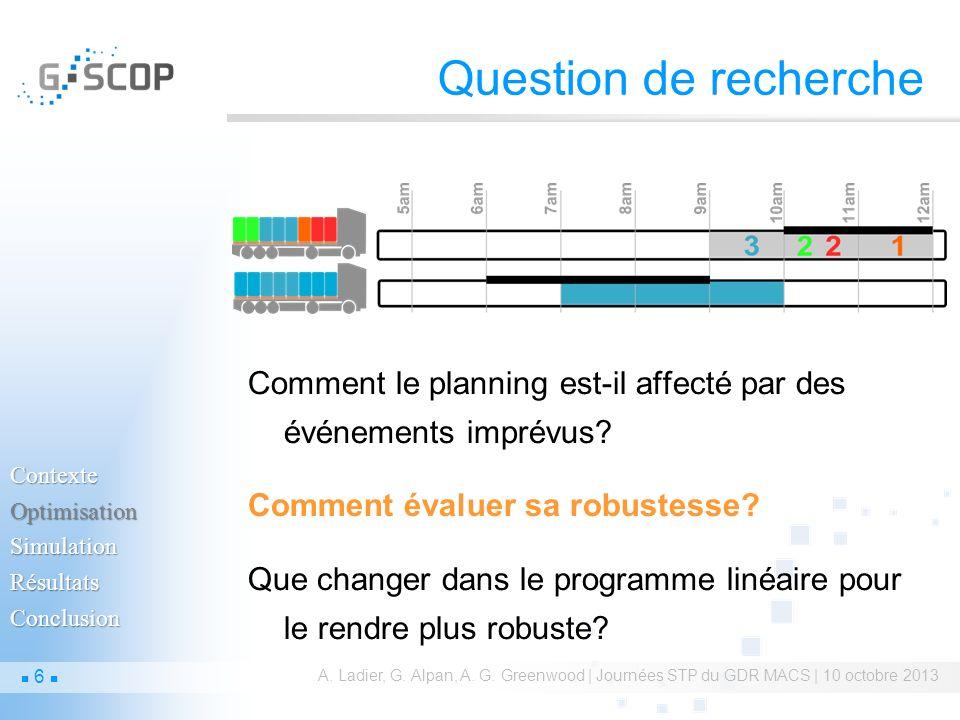 Question de recherche Comment le planning est-il affecté par des événements imprévus? Comment évaluer sa robustesse? Que changer dans le programme lin
