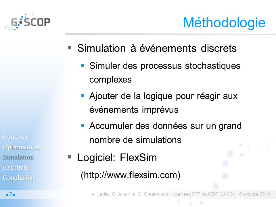 Optimisation-simulation.A. Ladier, G. Alpan, A. G.