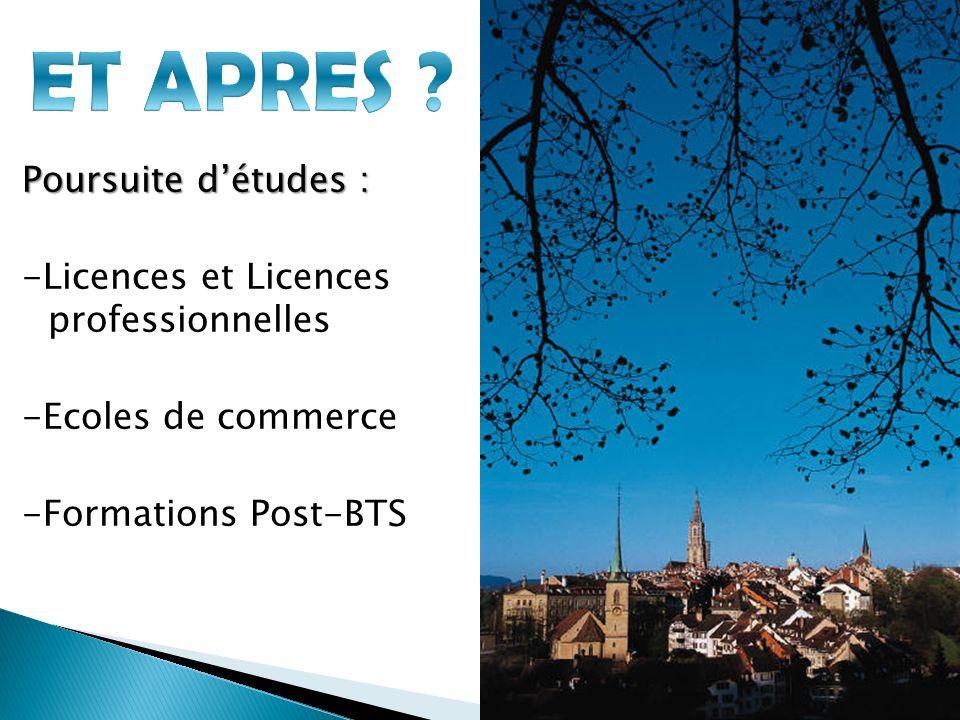 Poursuite détudes : -Licences et Licences professionnelles -Ecoles de commerce -Formations Post-BTS
