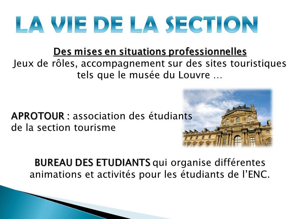Des mises en situations professionnelles Jeux de rôles, accompagnement sur des sites touristiques tels que le musée du Louvre … APROTOUR : APROTOUR :