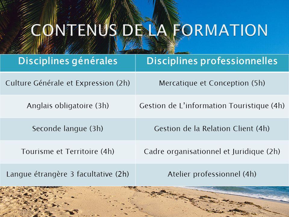 Disciplines généralesDisciplines professionnelles Culture Générale et Expression (2h)Mercatique et Conception (5h) Anglais obligatoire (3h)Gestion de Linformation Touristique (4h) Seconde langue (3h)Gestion de la Relation Client (4h) Tourisme et Territoire (4h)Cadre organisationnel et Juridique (2h) Langue étrangère 3 facultative (2h) Atelier professionnel (4h)