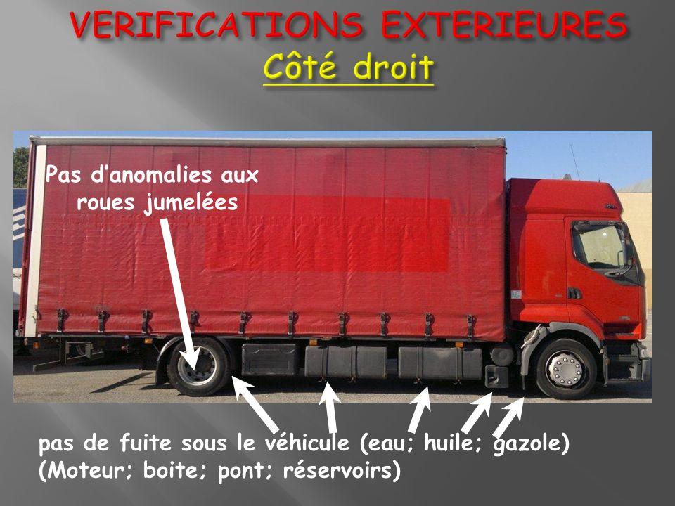 pas de fuite sous le véhicule (eau; huile; gazole) (Moteur; boite; pont; réservoirs) Pas danomalies aux roues jumelées