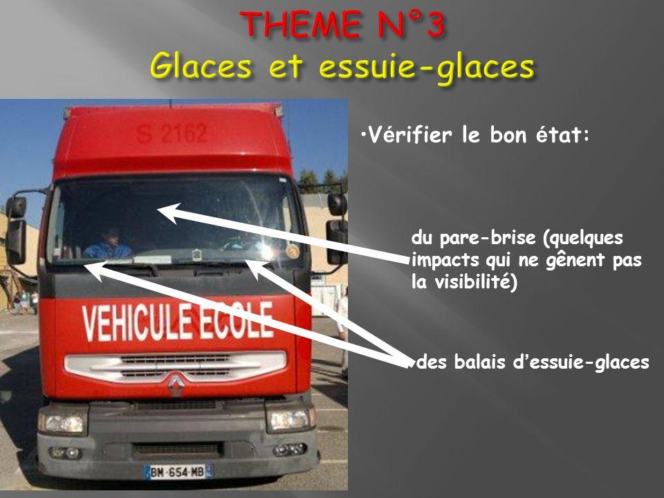 V é rifier le bon é tat: du pare-brise (quelques impacts qui ne gênent pas la visibilité) des balais d essuie-glaces