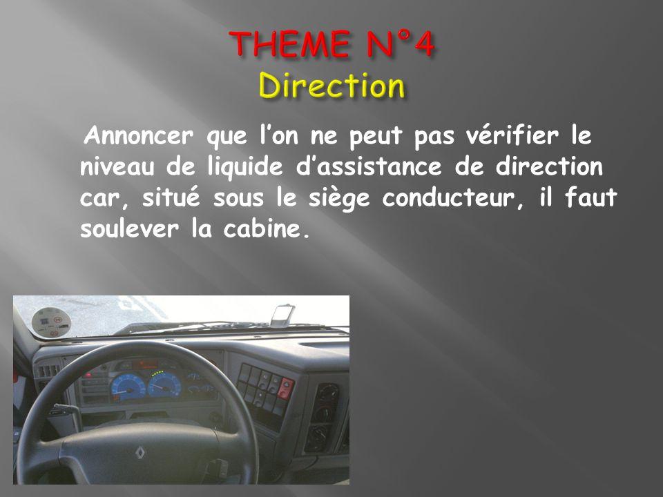 Annoncer que lon ne peut pas vérifier le niveau de liquide dassistance de direction car, situé sous le siège conducteur, il faut soulever la cabine.