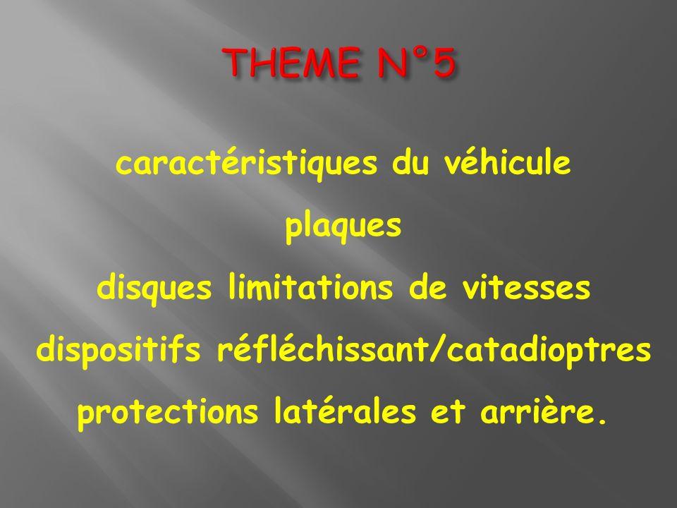 caractéristiques du véhicule plaques disques limitations de vitesses dispositifs réfléchissant/catadioptres protections latérales et arrière.