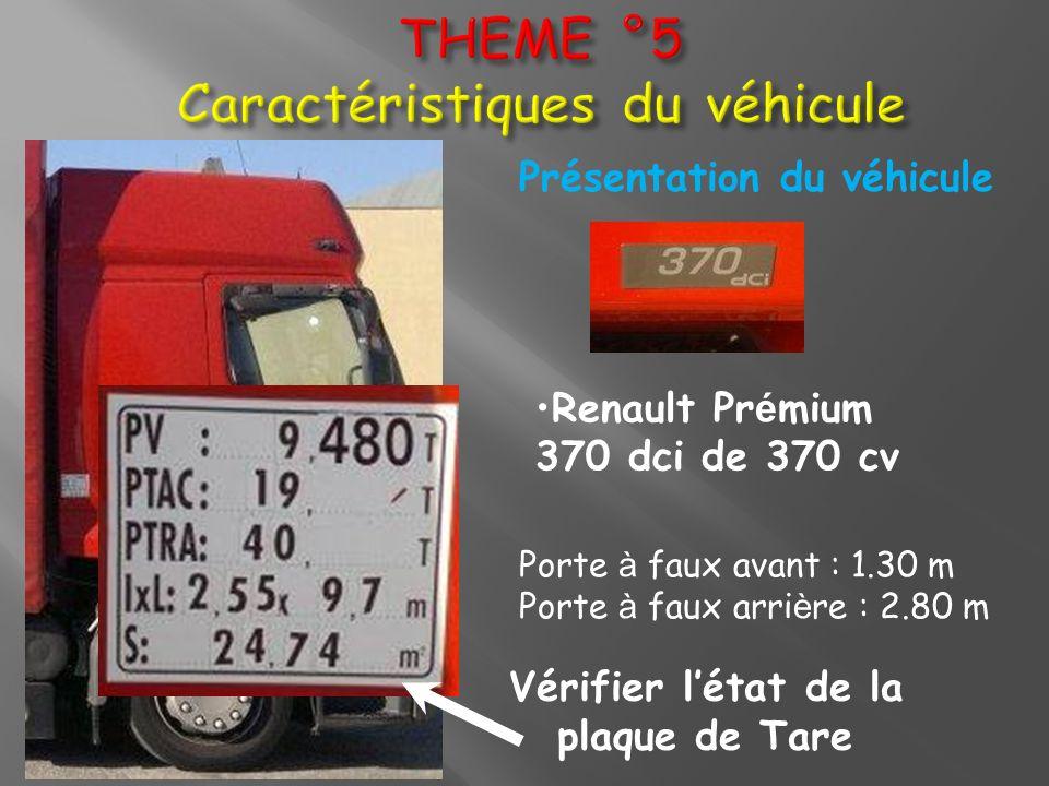 Vérifier létat de la plaque de Tare Présentation du véhicule Renault Pr é mium 370 dci de 370 cv Porte à faux avant : 1.30 m Porte à faux arri è re :