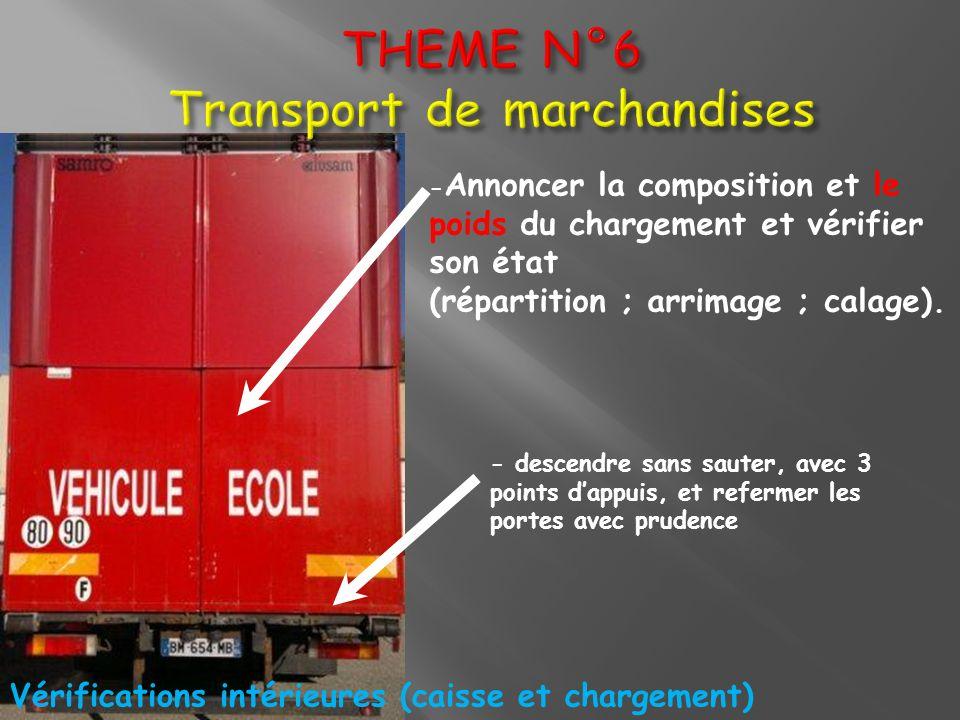 THEME N°6 Transport de marchandises - Annoncer la composition et le poids du chargement et vérifier son état (répartition ; arrimage ; calage). - desc