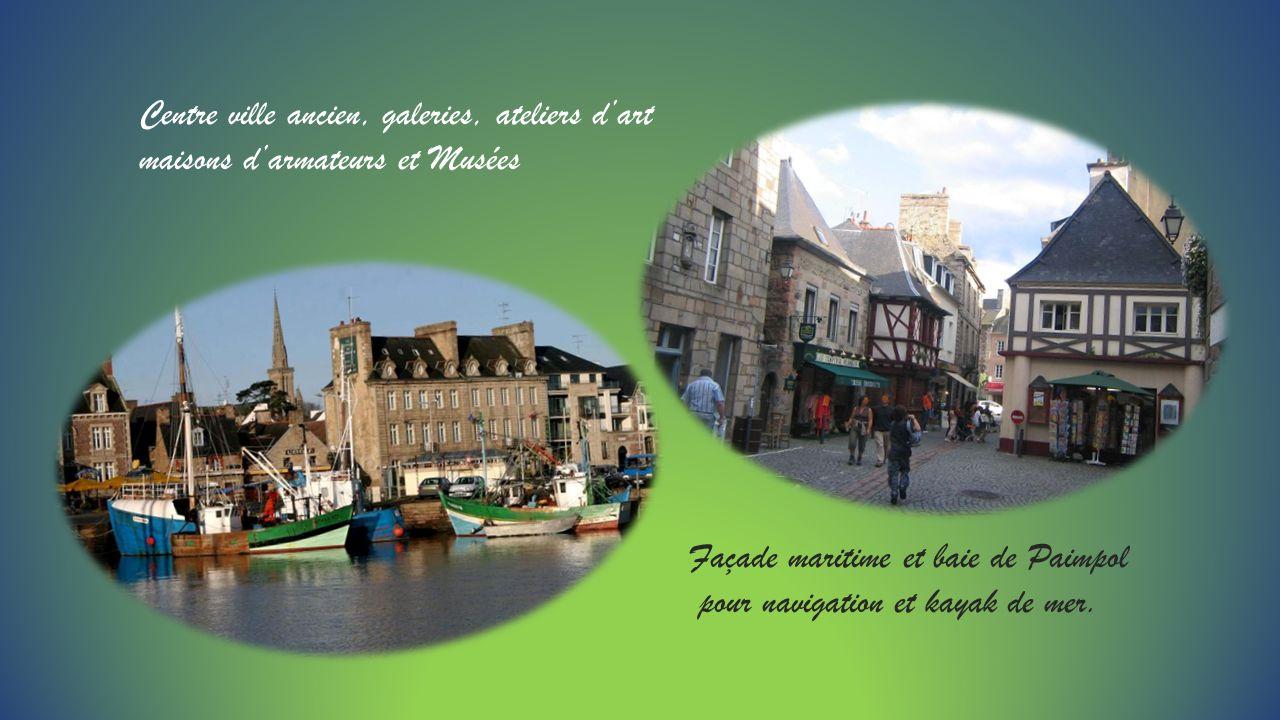 Centre ville ancien, galeries, ateliers dart maisons darmateurs et Musées Façade maritime et baie de Paimpol pour navigation et kayak de mer.