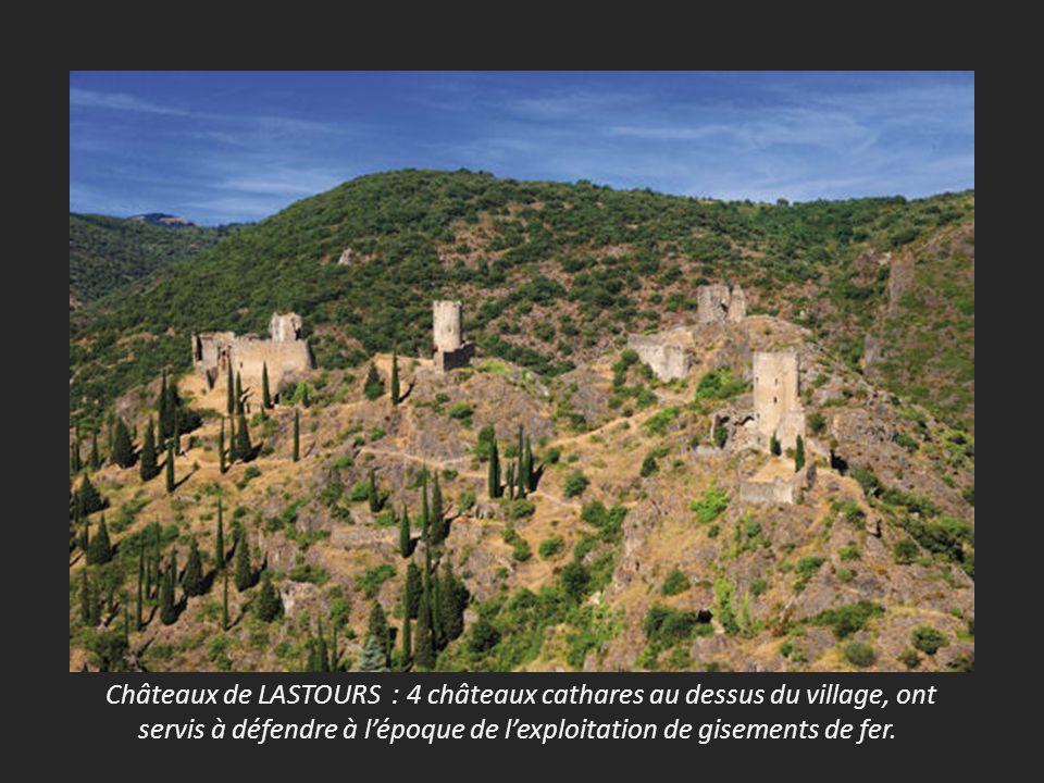 Châteaux de LASTOURS : 4 châteaux cathares au dessus du village, ont servis à défendre à lépoque de lexploitation de gisements de fer.