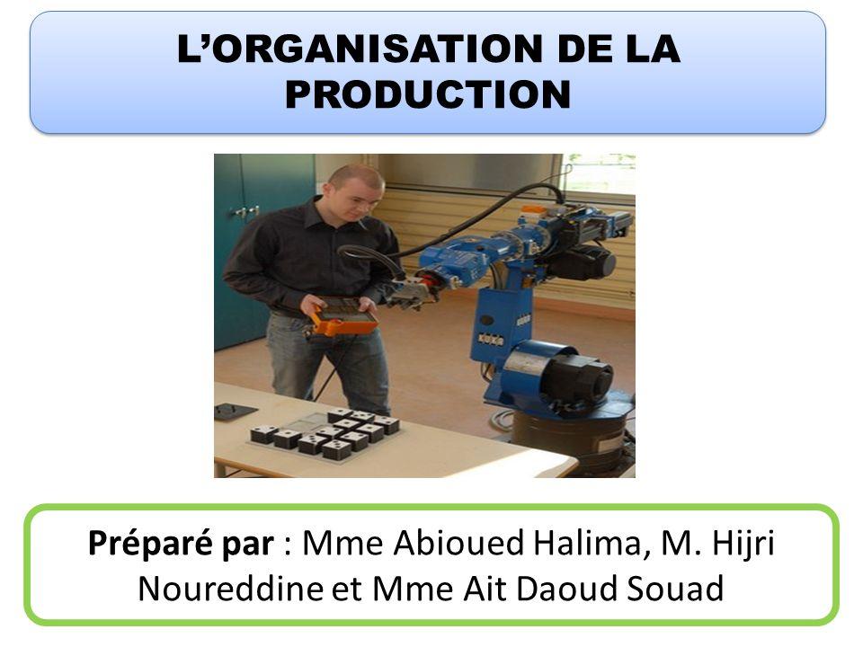 LORGANISATION DE LA PRODUCTION Préparé par : Mme Abioued Halima, M. Hijri Noureddine et Mme Ait Daoud Souad