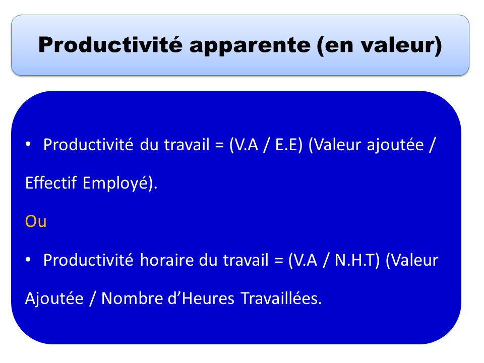 Productivité apparente (en valeur) Productivité du travail = (V.A / E.E) (Valeur ajoutée / Effectif Employé). Ou Productivité horaire du travail = (V.
