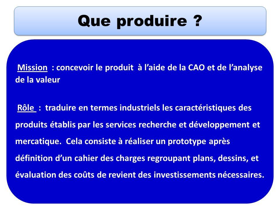 Que produire ? Mission : concevoir le produit à laide de la CAO et de lanalyse de la valeur Rôle : traduire en termes industriels les caractéristiques