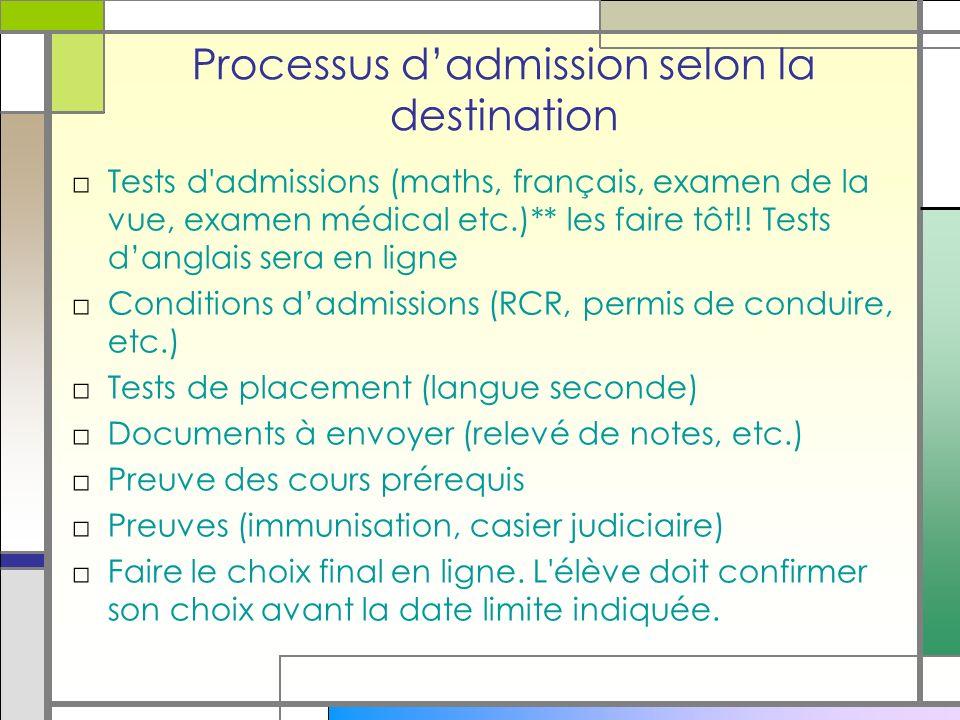 Processus dadmission selon la destination Tests d admissions (maths, français, examen de la vue, examen médical etc.)** les faire tôt!.
